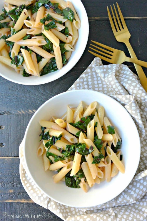 Pasta with garlicky chard by Veggies Save the Day